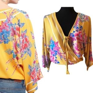 Flying Tomato Yellow Floral Faux Wrap Top